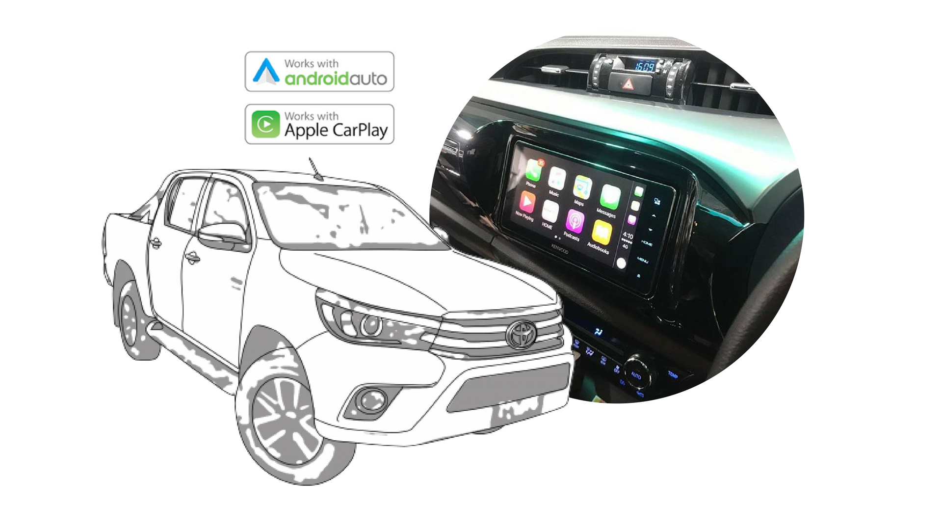 apple carplay android auto upgrade for toyota hilux 2016 2017. Black Bedroom Furniture Sets. Home Design Ideas
