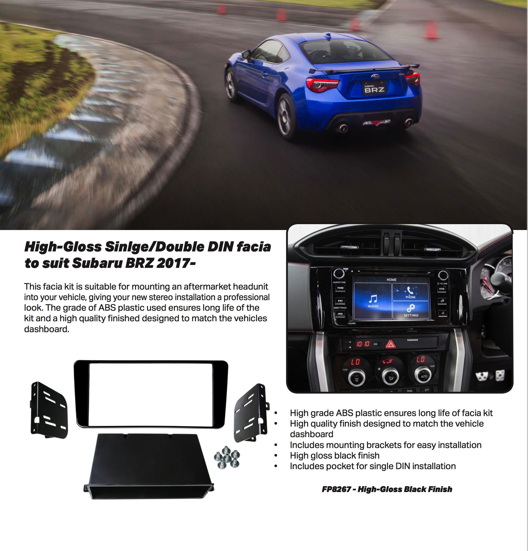 Facia Kit For 2017 Subaru Brz Aerpro Fp8267 Gloss Black Double Fuse Box Din