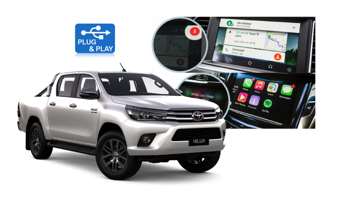 add apple carplay android auto to your new hilux carbon car systems. Black Bedroom Furniture Sets. Home Design Ideas