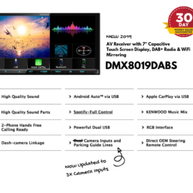 "Kenwood DMX8019DABS Digital Media Unit 7"" Display & DAB+ Radio 