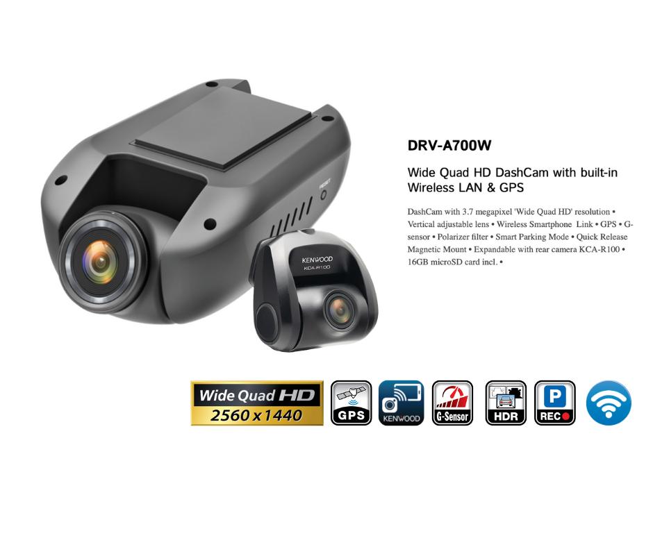 Kenwood DRV-A700WDP Dash Camera QHD 2 Channel
